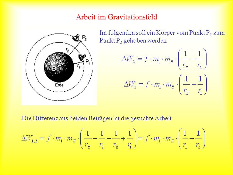 Arbeit im Gravitationsfeld Bei der Arbeit kommt es nur auf die Abstände zum Erdmittelpunkt am Anfang und Ende an.