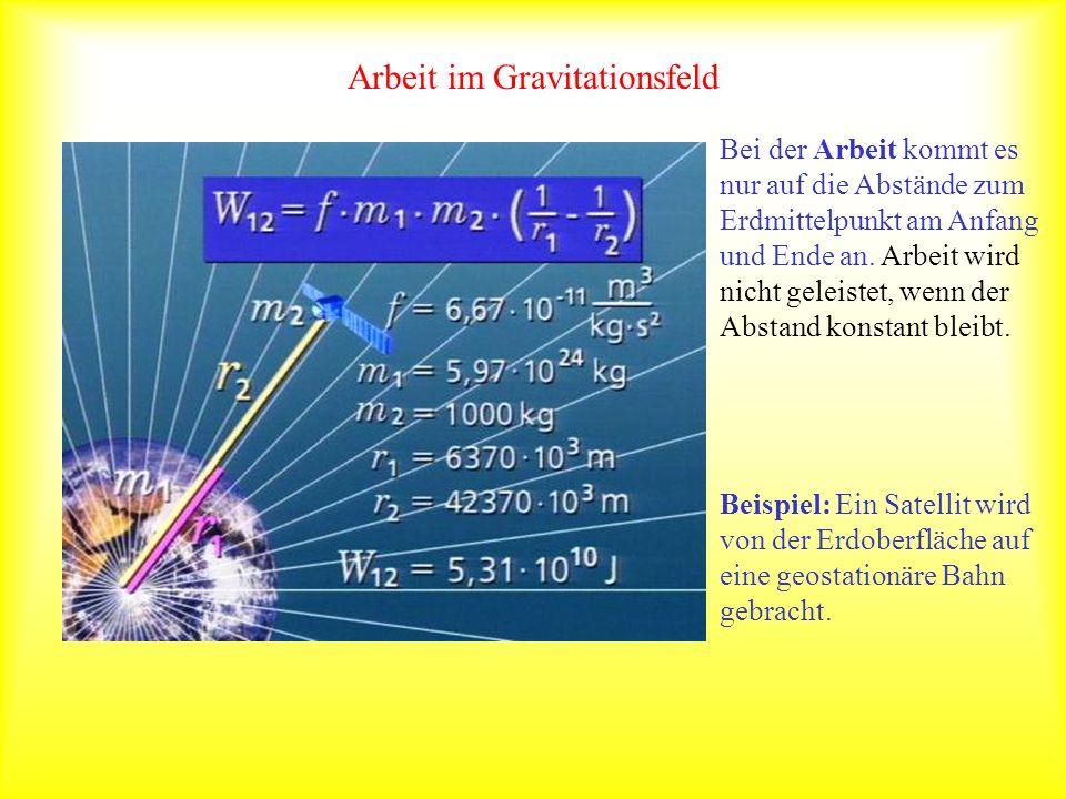 Arbeit im Gravitationsfeld Bei der Arbeit kommt es nur auf die Abstände zum Erdmittelpunkt am Anfang und Ende an. Arbeit wird nicht geleistet, wenn de
