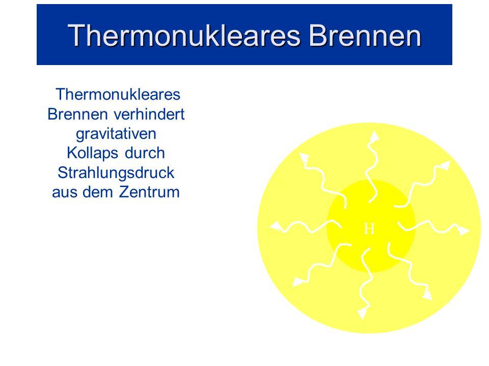 Thermonukleares Brennen: Entstehung leichter Elemente Fusion erzeugt Energie und Strahlungsdruck
