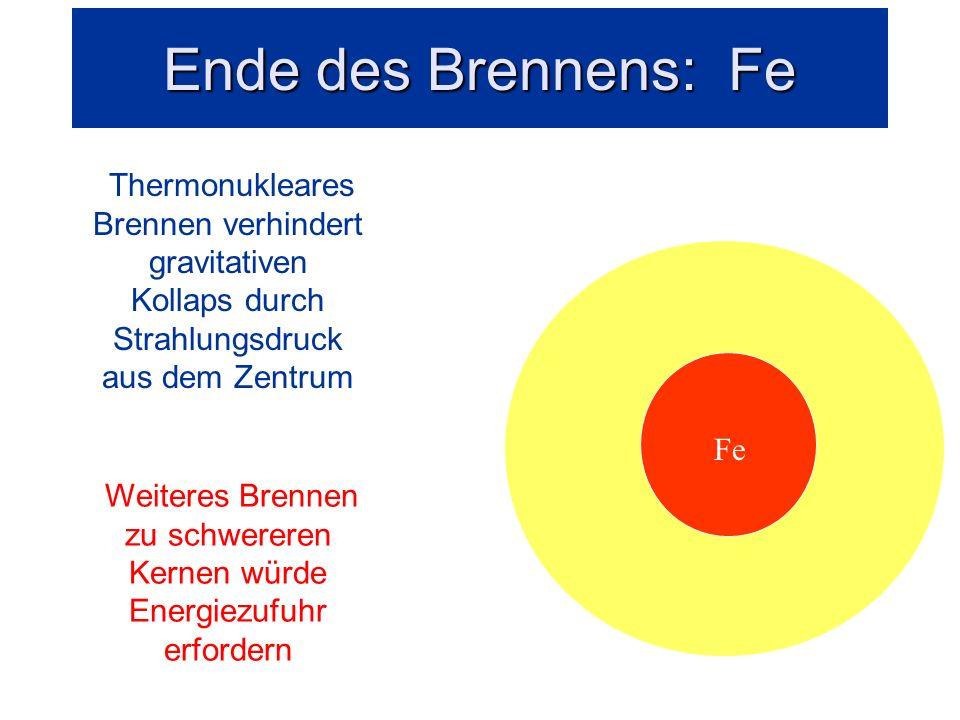 Thermonukleares Brennen Fe Si Thermonukleares Brennen verhindert gravitativen Kollaps durch Strahlungsdruck aus dem Zentrum Fe i Fe