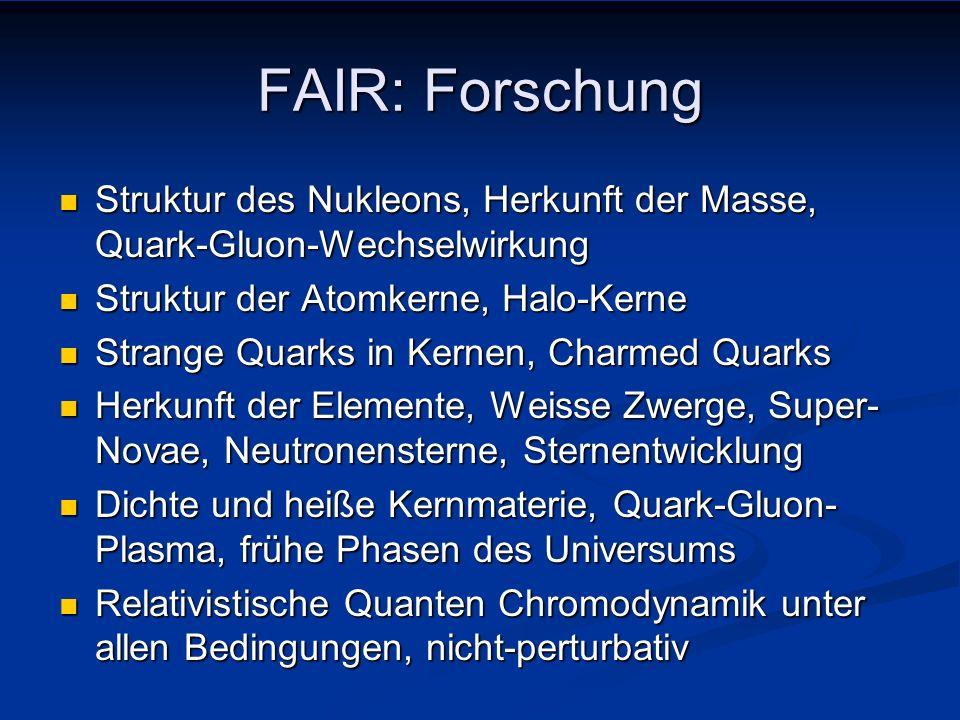 FAIR an GSI-Darmstadt Forschung mit Strahlen instabiler Isotope Forschung mit Strahlen instabiler Isotope Kerne weitab der Stabilität, Elemententstehung Kerne weitab der Stabilität, Elemententstehung Nukleare Astrophysik Nukleare Astrophysik Forschung mit Antiprotonen Forschung mit Antiprotonen Hadron-Spektroskopie, Hyperkerne, Medium-Effekte Hadron-Spektroskopie, Hyperkerne, Medium-Effekte Quark-Gluon-Freiheitsgrade, nicht-pert.