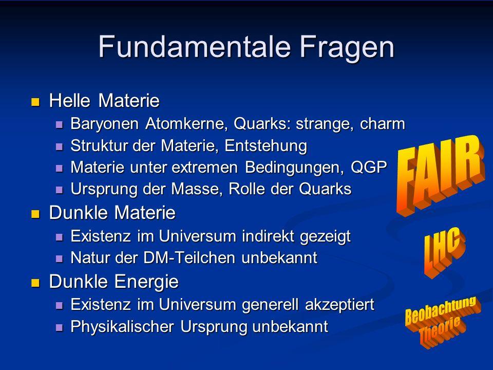 Fundamentale Fragen Helle Materie Helle Materie Dunkle Materie Dunkle Materie Dunkle Energie Dunkle Energie