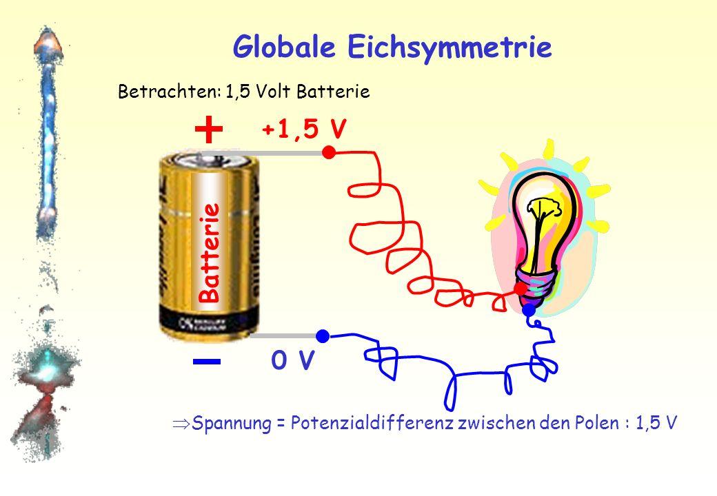 Globale Eichsymmetrie Batterie Betrachten: 1,5 Volt Batterie Spannung = Potenzialdifferenz zwischen den Polen : 1,5 V