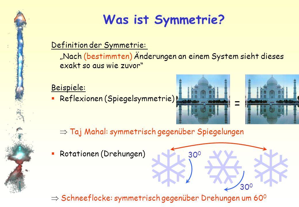Wechselwirkungen Ursache aller Wechselwirkungen ist lokale Eichsymmetrie Für jede der Wechselwirkungen ist eine entsprechende Symmetrie gefunden worden (QED: Zeiger) Zu jeder Symmetrie (Wechselwirkung) existieren Austauschteilchen: 1.Elektroschwache Wechselwirkung: Photon (QED) (masselos) Z 0, W +, W - (sehr schwer, ca.
