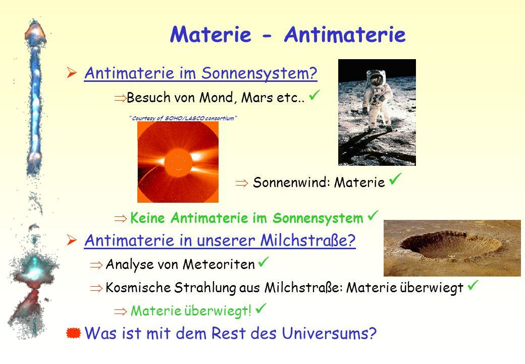 Materie - Antimaterie Bei perfekter Symmetrie zwischen Materie und Antimaterie wären beide in gleichen Mengen vorhanden! Aber: Universum ist von Mater