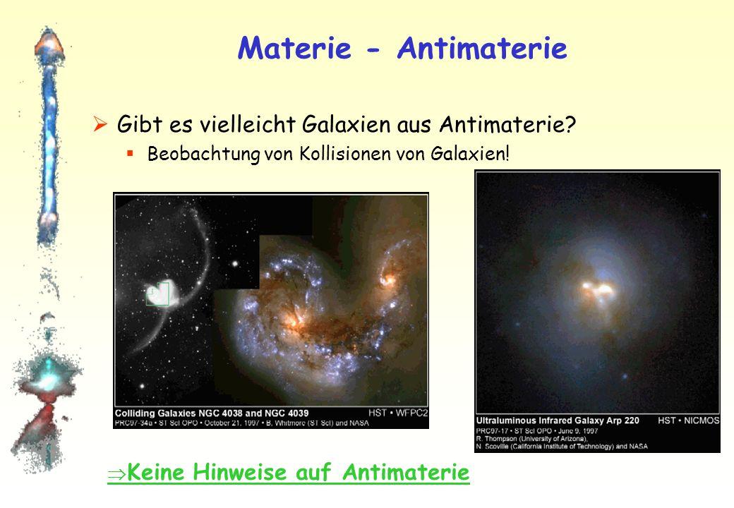 Materie - Antimaterie Positron-Elektron Vernichtung e e+e+ Photon = Lichtblitz mit hoher Energie Photon Photonen haben charakteristische Energie: E = ½m e ·c 2 (511 keV, Röntgenstrahlung: E 1 keV) Photonen werden in Atmosphäre absorbiert.