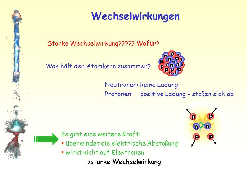 Teilchenphysik im C-Spiegel e-e- e-e- Elektromagnetische & starke Wechselwirkung: Reaktionen sind in der Welt der Antiteilchen gleich häufig.