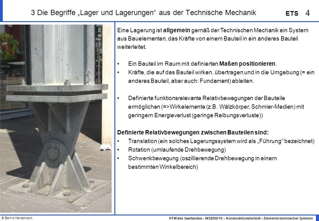 © Bernd Heidemann 15 HTW des Saarlandes – WS2009/10 – Konstruktionstechnik – Elemente technischer Systeme ETS 3 Lager - Übersicht Wälzlagerbauformen Quelle: INA Technisches Taschenbuch, Schaeffler KG, 2002, Seite 214
