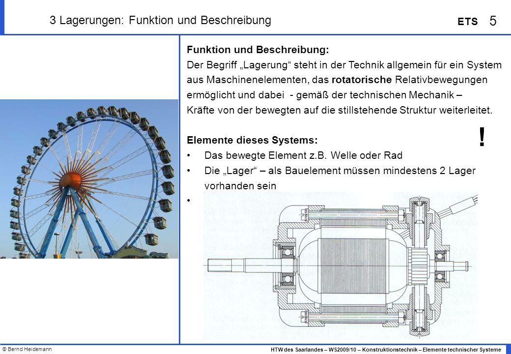 © Bernd Heidemann 16 HTW des Saarlandes – WS2009/10 – Konstruktionstechnik – Elemente technischer Systeme ETS 3 Lager - Übersicht Wälzlagerbauformen