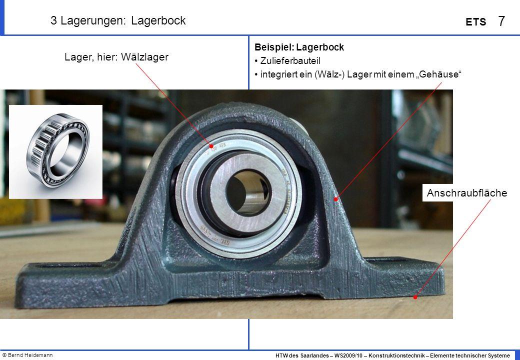 © Bernd Heidemann 8 HTW des Saarlandes – WS2009/10 – Konstruktionstechnik – Elemente technischer Systeme ETS 3 Lagerungen: Lagerbock Anwendung Anwendung: Lagerbock