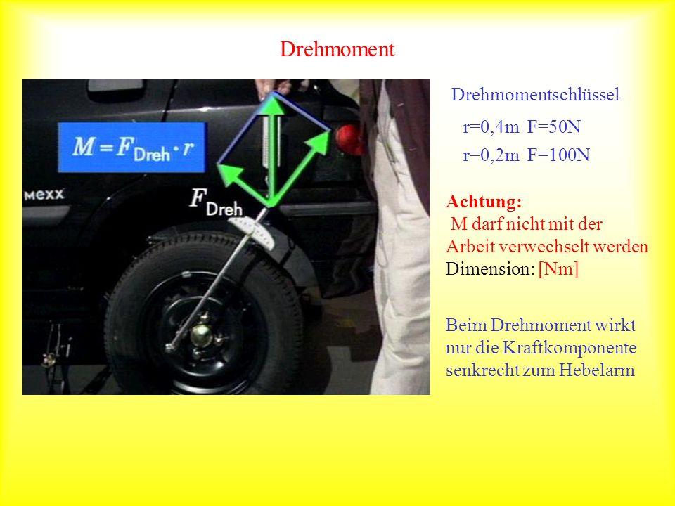 Drehmoment Drehmomentschlüssel r=0,4m F=50N r=0,2m F=100N Achtung: M darf nicht mit der Arbeit verwechselt werden Dimension: [Nm] Beim Drehmoment wirk