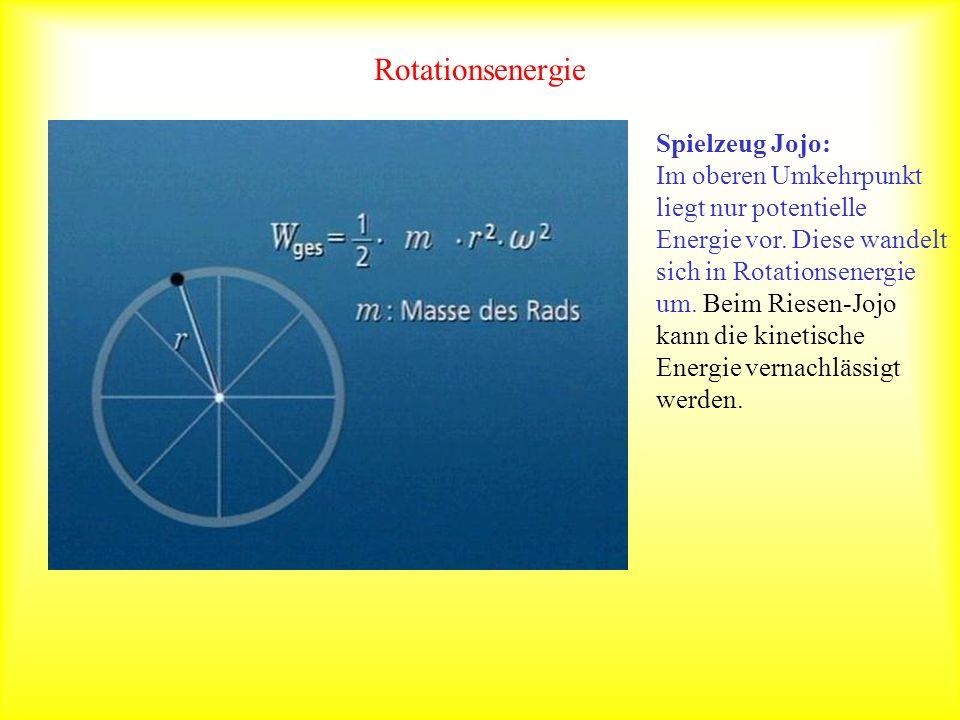 Rotationsenergie Spielzeug Jojo: Im oberen Umkehrpunkt liegt nur potentielle Energie vor. Diese wandelt sich in Rotationsenergie um. Beim Riesen-Jojo