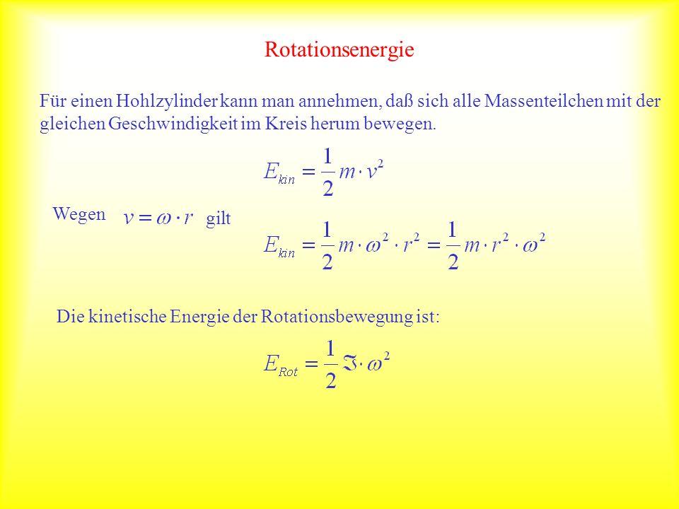 Rotationsenergie Für einen Hohlzylinder kann man annehmen, daß sich alle Massenteilchen mit der gleichen Geschwindigkeit im Kreis herum bewegen. Wegen