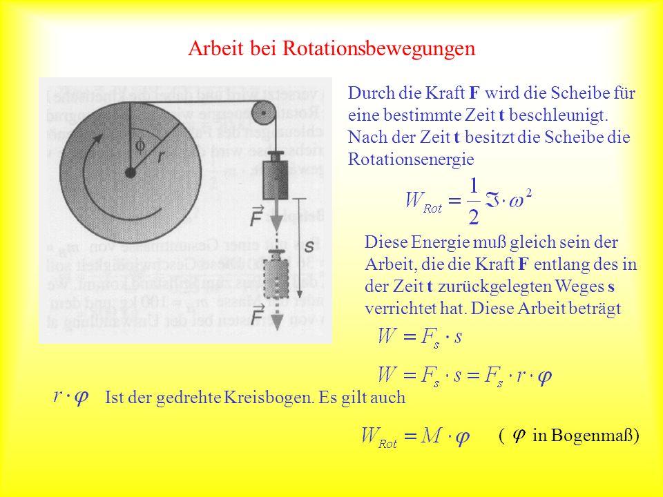 Arbeit bei Rotationsbewegungen Durch die Kraft F wird die Scheibe für eine bestimmte Zeit t beschleunigt. Nach der Zeit t besitzt die Scheibe die Rota