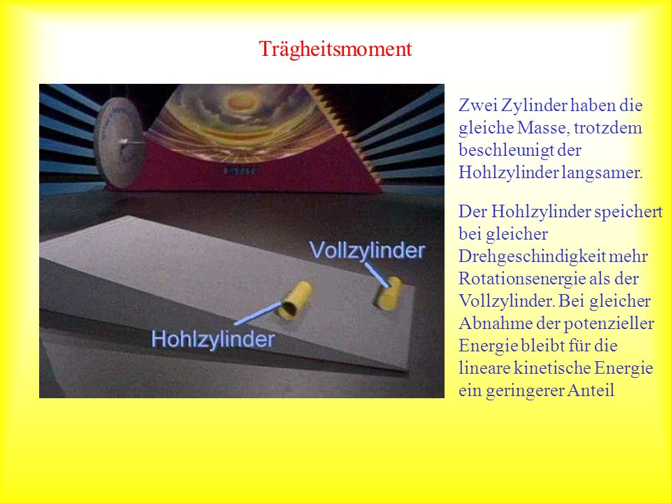 Trägheitsmoment Zwei Zylinder haben die gleiche Masse, trotzdem beschleunigt der Hohlzylinder langsamer. Der Hohlzylinder speichert bei gleicher Drehg