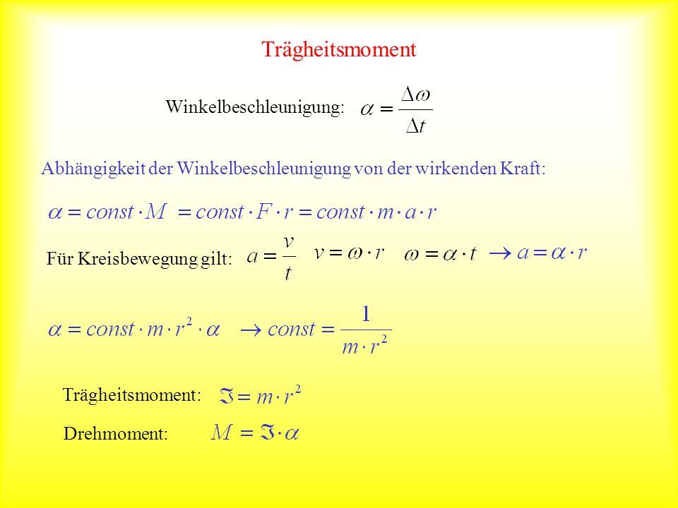 Trägheitsmoment Winkelbeschleunigung: Abhängigkeit der Winkelbeschleunigung von der wirkenden Kraft: Für Kreisbewegung gilt: Trägheitsmoment: Drehmome