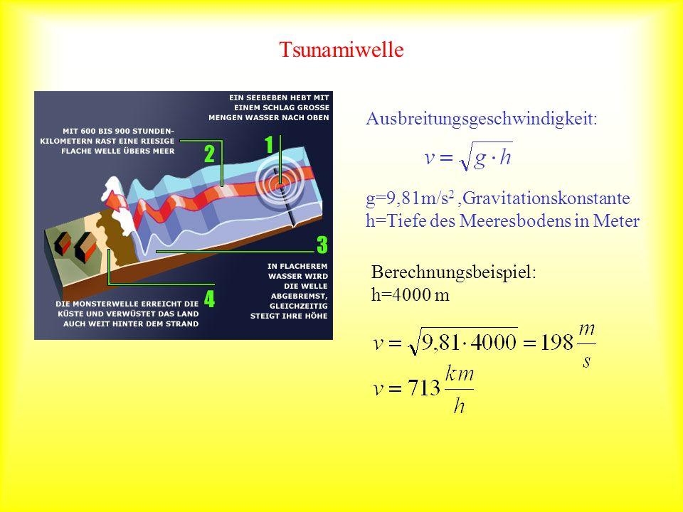 Tsunamiwelle Ausbreitungsgeschwindigkeit: g=9,81m/s 2,Gravitationskonstante h=Tiefe des Meeresbodens in Meter Berechnungsbeispiel: h=4000 m