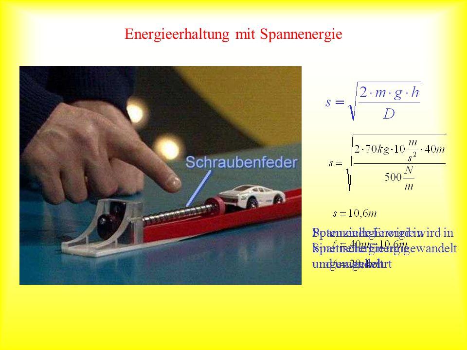 Energieerhaltung mit Spannenergie Potenzielle Energie wird in Spannenergie umgewandelt und umgekehrt Spannenergie wird in kinetische Energie umgewande
