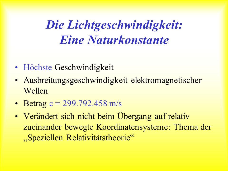 Die Lichtgeschwindigkeit: Eine Naturkonstante Höchste Geschwindigkeit Ausbreitungsgeschwindigkeit elektromagnetischer Wellen Betrag c = 299.792.458 m/