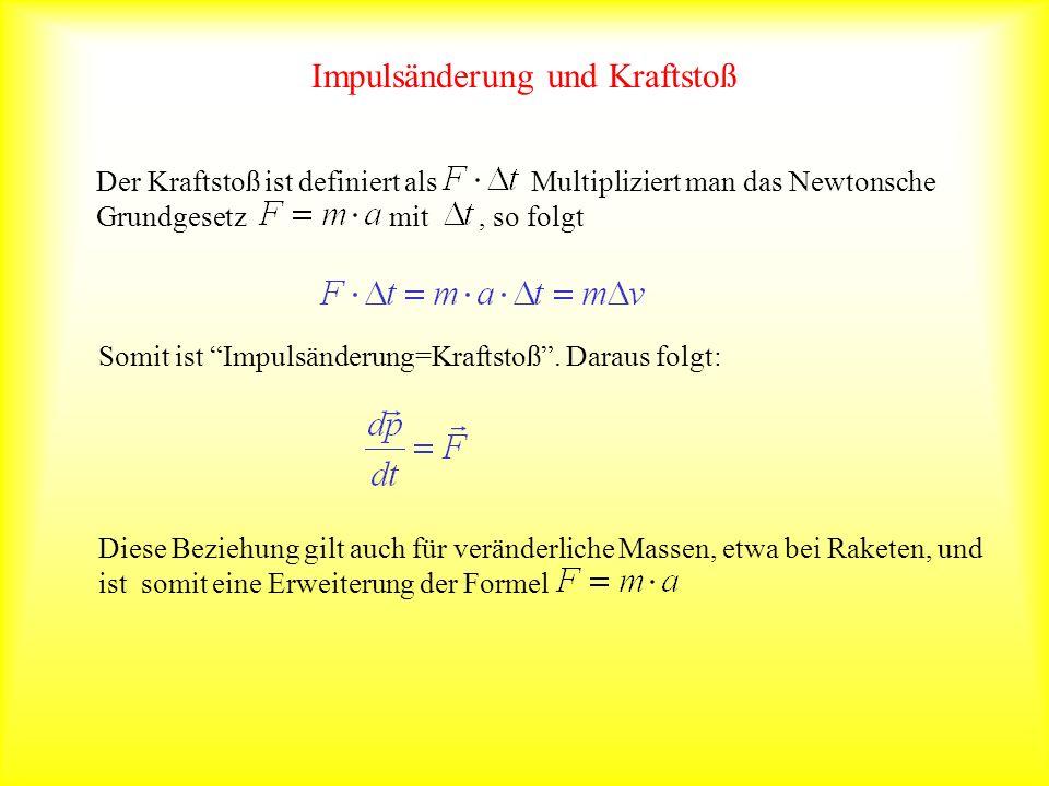 Impulsänderung und Kraftstoß Der Kraftstoß ist definiert als Multipliziert man das Newtonsche Grundgesetz mit, so folgt Somit ist Impulsänderung=Kraft