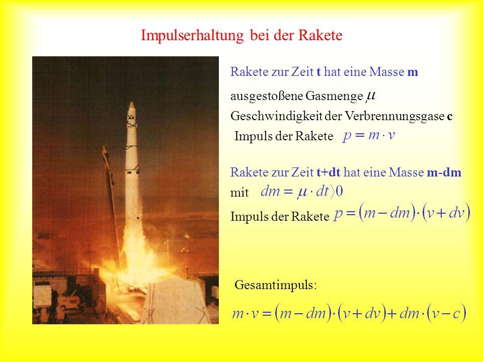 Impulserhaltung bei der Rakete Rakete zur Zeit t hat eine Masse m Geschwindigkeit der Verbrennungsgase c ausgestoßene Gasmenge Impuls der Rakete Raket