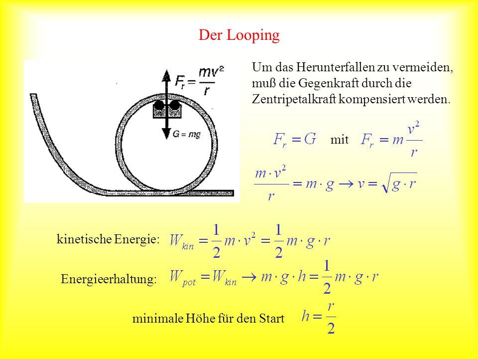 Der Looping Um das Herunterfallen zu vermeiden, muß die Gegenkraft durch die Zentripetalkraft kompensiert werden. mit kinetische Energie: Energieerhal
