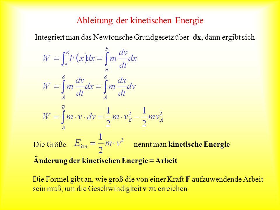 Ableitung der kinetischen Energie Integriert man das Newtonsche Grundgesetz über dx, dann ergibt sich Änderung der kinetischen Energie = Arbeit Die Gr