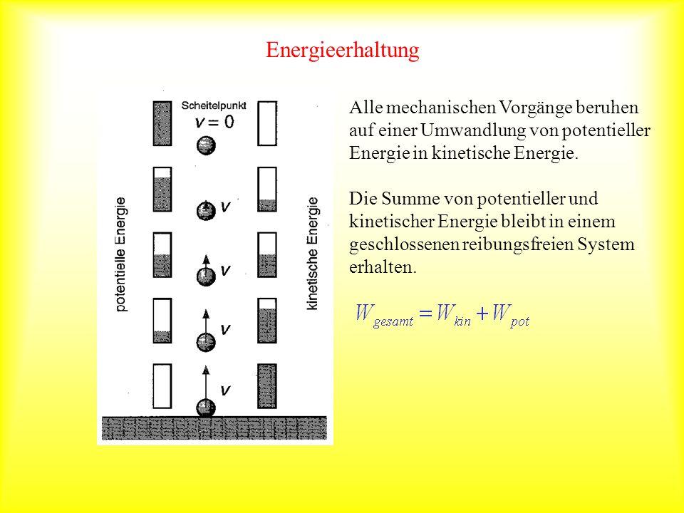 Energieerhaltung Alle mechanischen Vorgänge beruhen auf einer Umwandlung von potentieller Energie in kinetische Energie. Die Summe von potentieller un