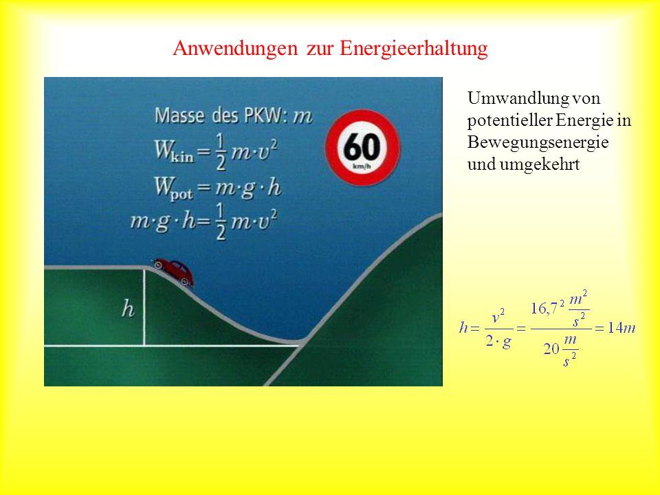 Anwendungen zur Energieerhaltung Umwandlung von potentieller Energie in Bewegungsenergie und umgekehrt