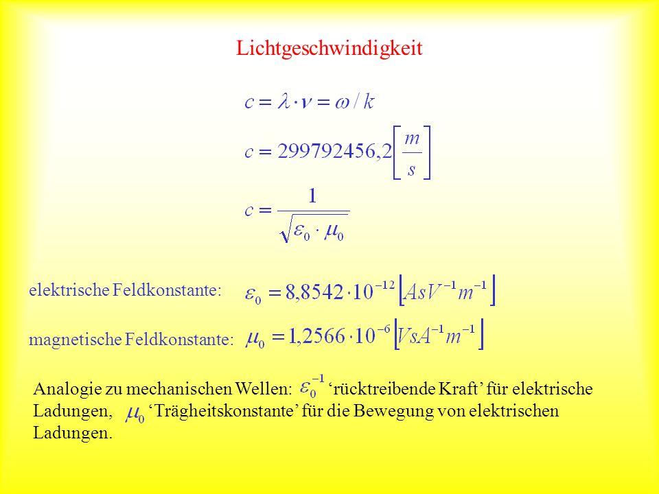 Lichtgeschwindigkeit elektrische Feldkonstante: magnetische Feldkonstante: Analogie zu mechanischen Wellen: rücktreibende Kraft für elektrische Ladung