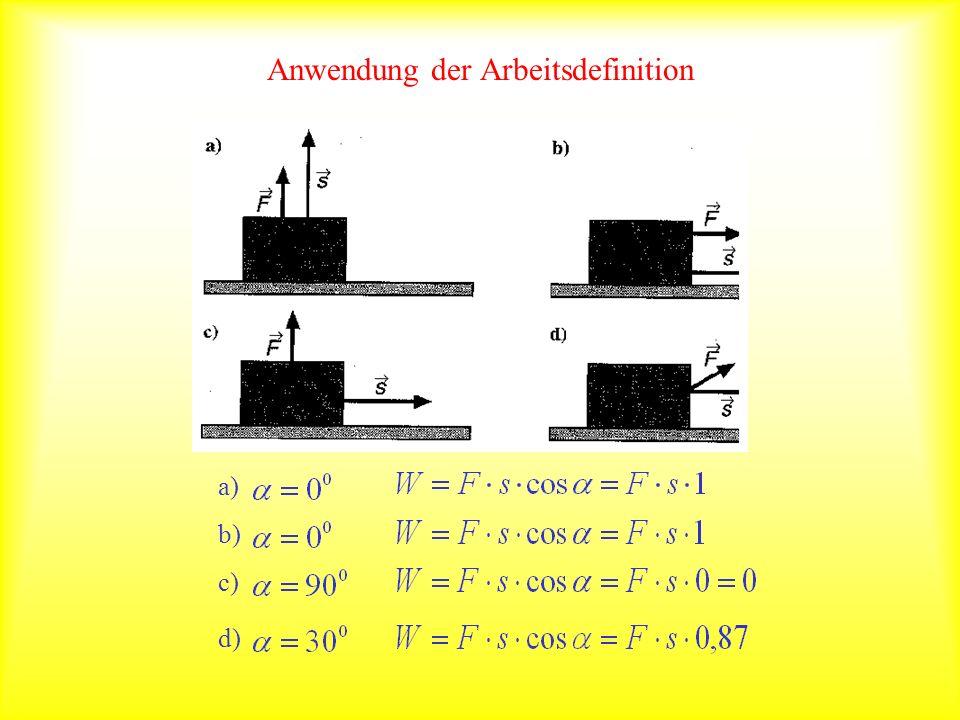 Anwendung der Arbeitsdefinition a) b) c) d)