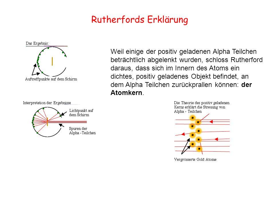 Rutherfords Erklärung Weil einige der positiv geladenen Alpha Teilchen beträchtlich abgelenkt wurden, schloss Rutherford daraus, dass sich im Innern d