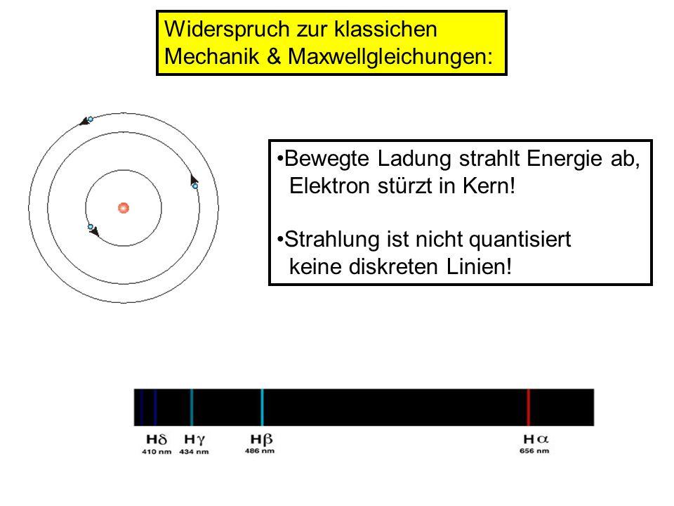 Widerspruch zur klassichen Mechanik & Maxwellgleichungen: Bewegte Ladung strahlt Energie ab, Elektron stürzt in Kern! Strahlung ist nicht quantisiert