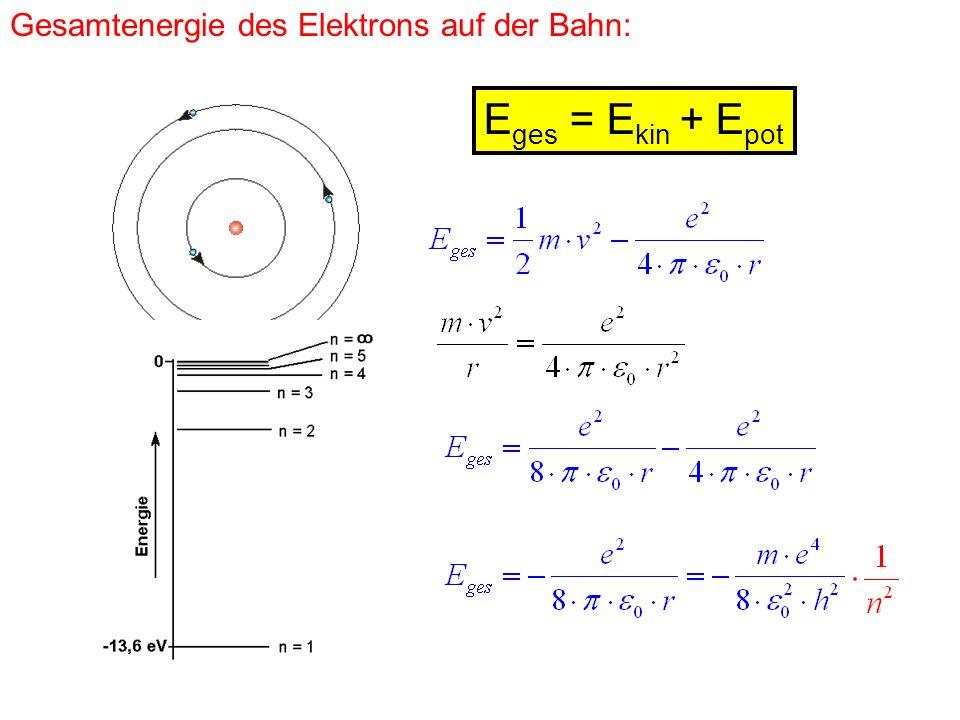 Gesamtenergie des Elektrons auf der Bahn: E ges = E kin + E pot