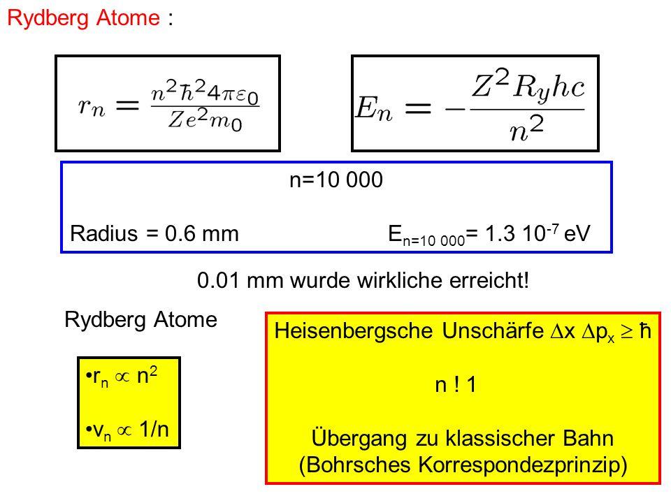 n=10 000 Radius = 0.6 mm E n=10 000 = 1.3 10 -7 eV 0.01 mm wurde wirkliche erreicht! Rydberg Atome : Rydberg Atome r n n 2 v n 1/n Heisenbergsche Unsc