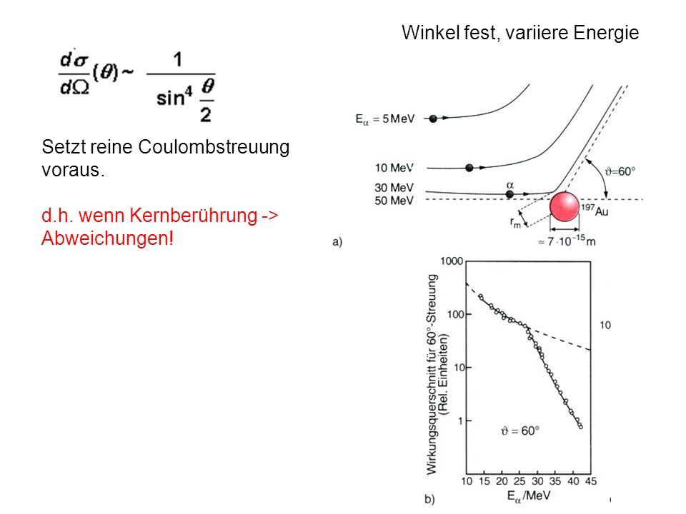 Setzt reine Coulombstreuung voraus. d.h. wenn Kernberührung -> Abweichungen! Winkel fest, variiere Energie