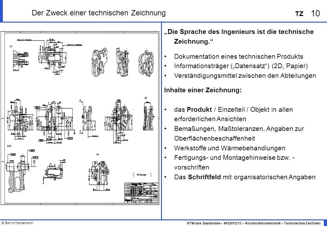 © Bernd Heidemann 10 HTW des Saarlandes – WS2012/13 – Konstruktionstechnik – Technisches Zeichnen TZ Der Zweck einer technischen Zeichnung Die Sprache