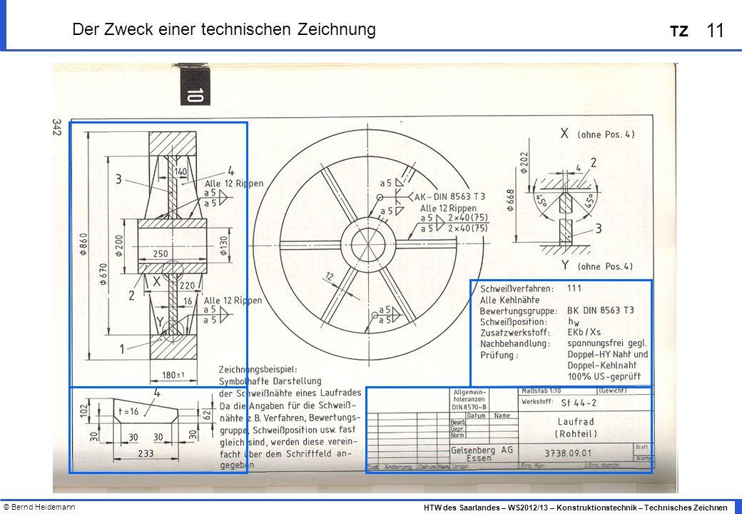 © Bernd Heidemann 11 HTW des Saarlandes – WS2012/13 – Konstruktionstechnik – Technisches Zeichnen TZ Der Zweck einer technischen Zeichnung