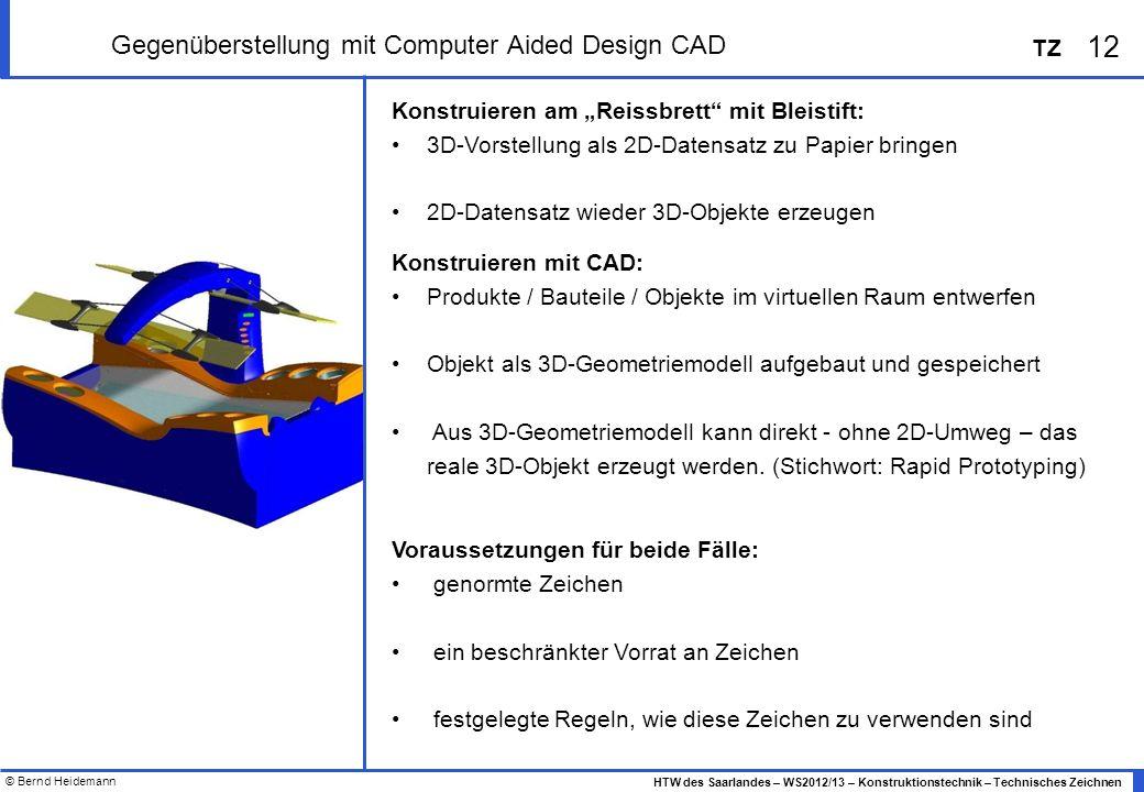 © Bernd Heidemann 12 HTW des Saarlandes – WS2012/13 – Konstruktionstechnik – Technisches Zeichnen TZ Gegenüberstellung mit Computer Aided Design CAD K