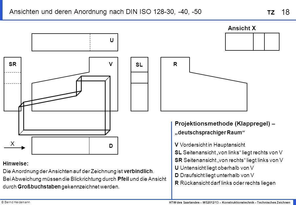 © Bernd Heidemann 18 HTW des Saarlandes – WS2012/13 – Konstruktionstechnik – Technisches Zeichnen TZ ? Ansichten und deren Anordnung nach DIN ISO 128-