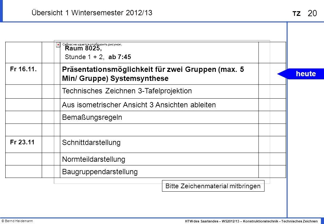 © Bernd Heidemann 20 HTW des Saarlandes – WS2012/13 – Konstruktionstechnik – Technisches Zeichnen TZ Übersicht 1 Wintersemester 2012/13 Raum 8025, Stu