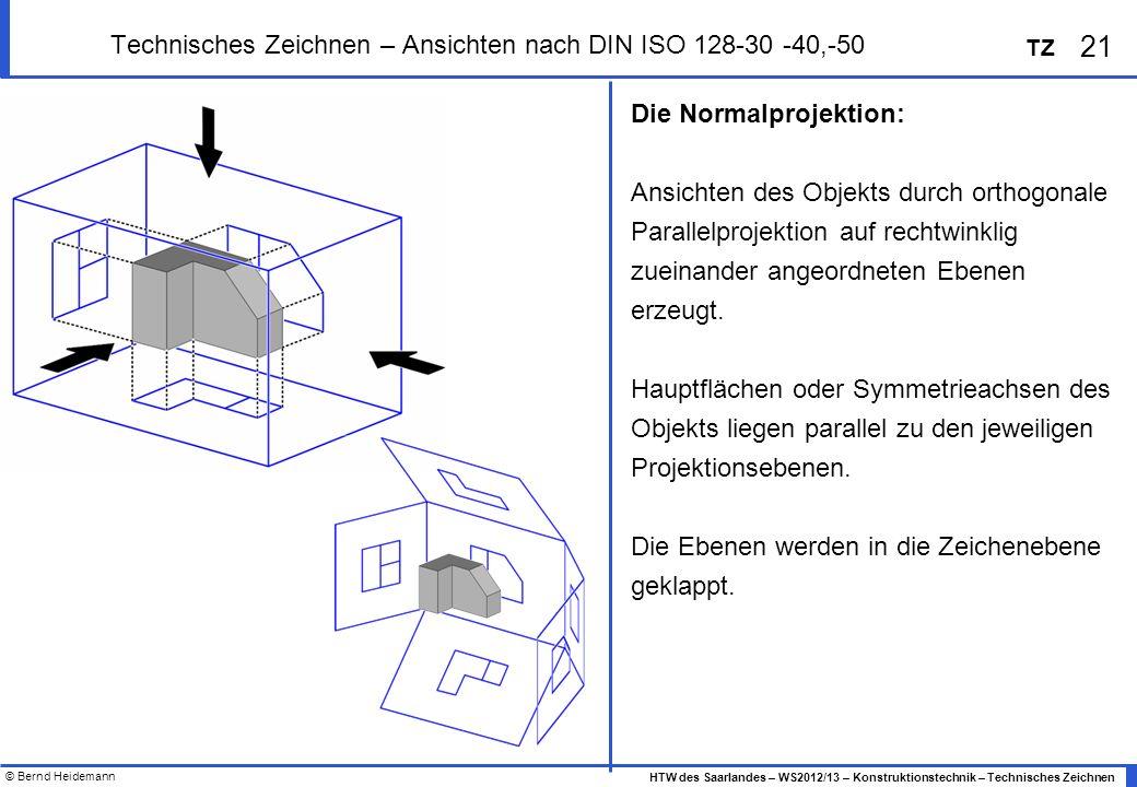 © Bernd Heidemann 21 HTW des Saarlandes – WS2012/13 – Konstruktionstechnik – Technisches Zeichnen TZ Technisches Zeichnen – Ansichten nach DIN ISO 128