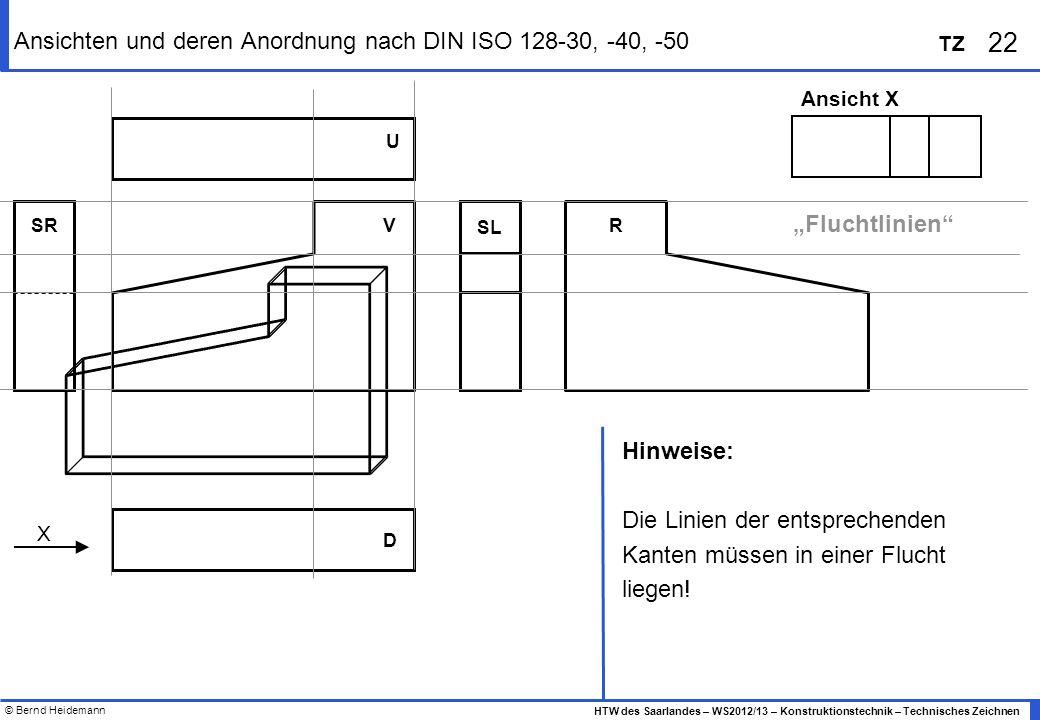© Bernd Heidemann 22 HTW des Saarlandes – WS2012/13 – Konstruktionstechnik – Technisches Zeichnen TZ Ansichten und deren Anordnung nach DIN ISO 128-30