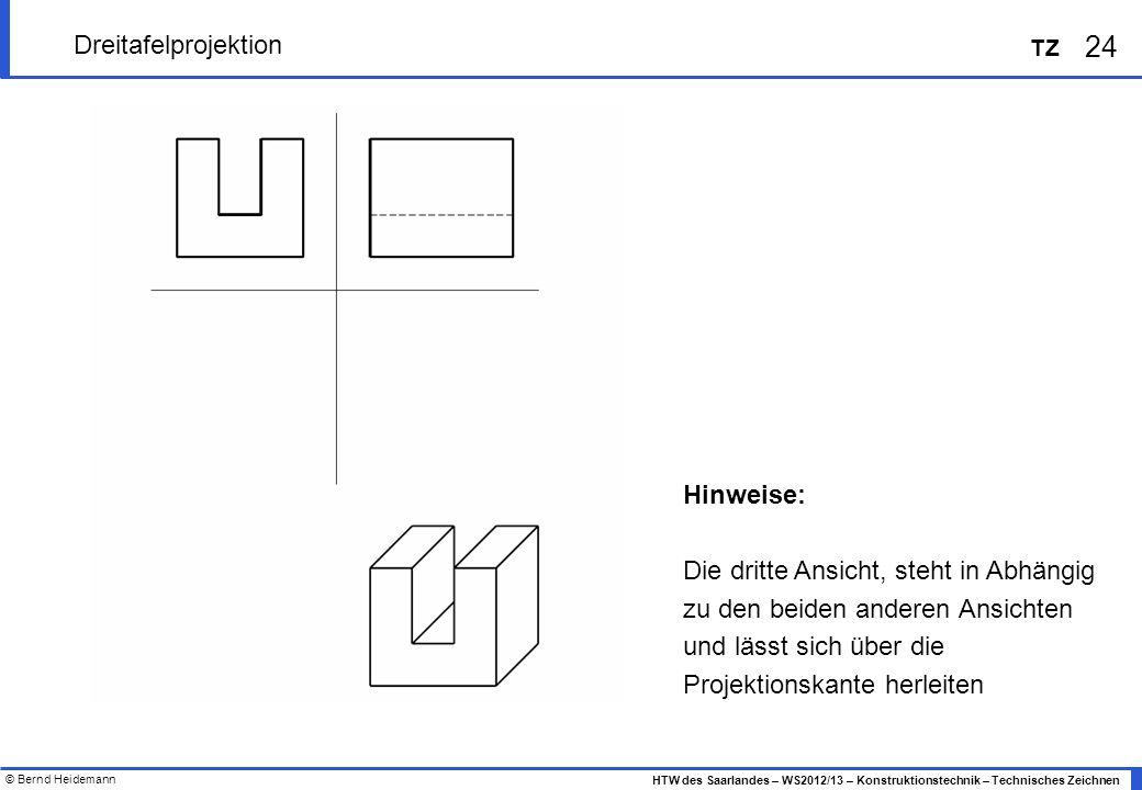 © Bernd Heidemann 24 HTW des Saarlandes – WS2012/13 – Konstruktionstechnik – Technisches Zeichnen TZ Dreitafelprojektion Hinweise: Die dritte Ansicht,