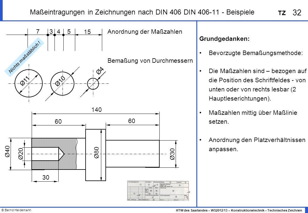 © Bernd Heidemann 32 HTW des Saarlandes – WS2012/13 – Konstruktionstechnik – Technisches Zeichnen TZ Maßeintragungen in Zeichnungen nach DIN 406 DIN 4