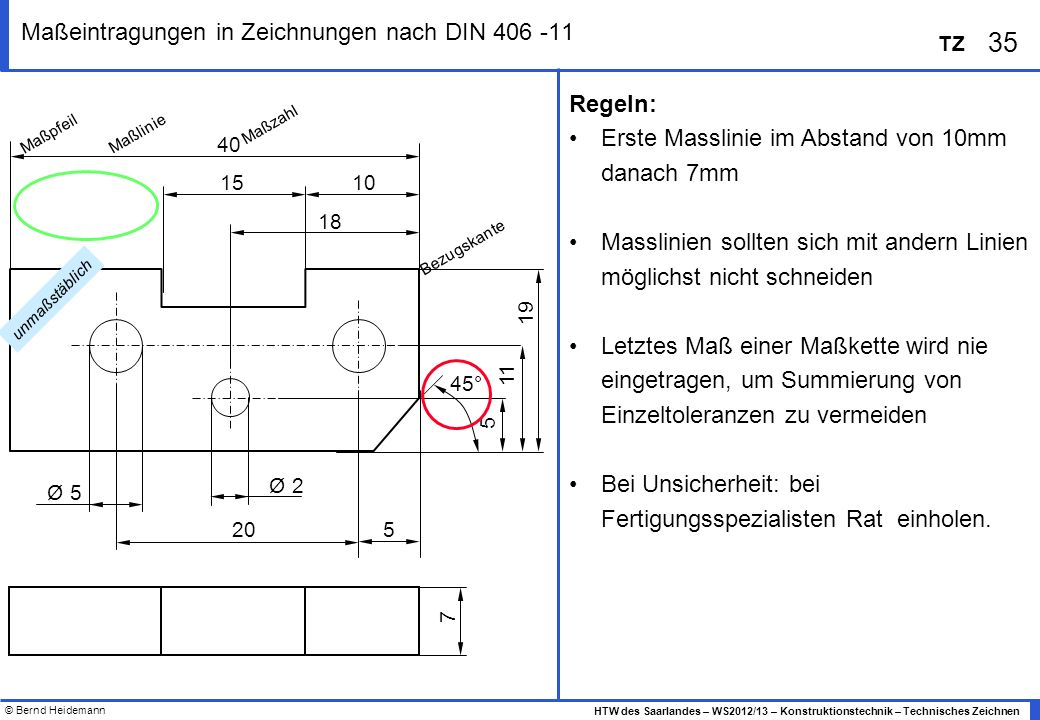 © Bernd Heidemann 35 HTW des Saarlandes – WS2012/13 – Konstruktionstechnik – Technisches Zeichnen TZ Maßeintragungen in Zeichnungen nach DIN 406 -11 R