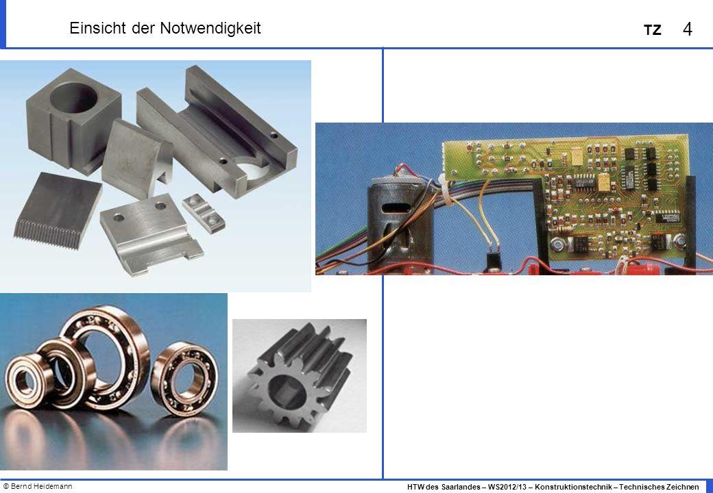 © Bernd Heidemann 4 HTW des Saarlandes – WS2012/13 – Konstruktionstechnik – Technisches Zeichnen TZ Einsicht der Notwendigkeit