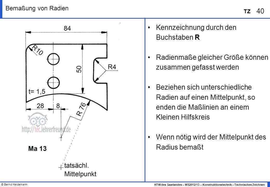 © Bernd Heidemann 40 HTW des Saarlandes – WS2012/13 – Konstruktionstechnik – Technisches Zeichnen TZ Bemaßung von Radien Kennzeichnung durch den Buchs