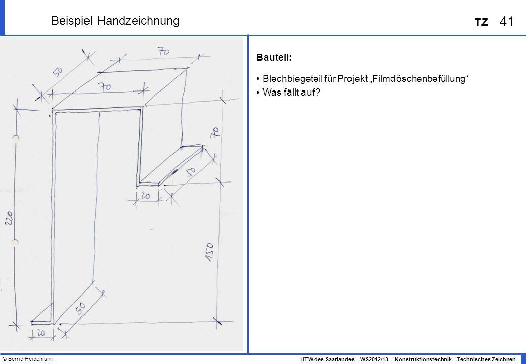 © Bernd Heidemann 41 HTW des Saarlandes – WS2012/13 – Konstruktionstechnik – Technisches Zeichnen TZ Beispiel Handzeichnung Bauteil: Blechbiegeteil fü