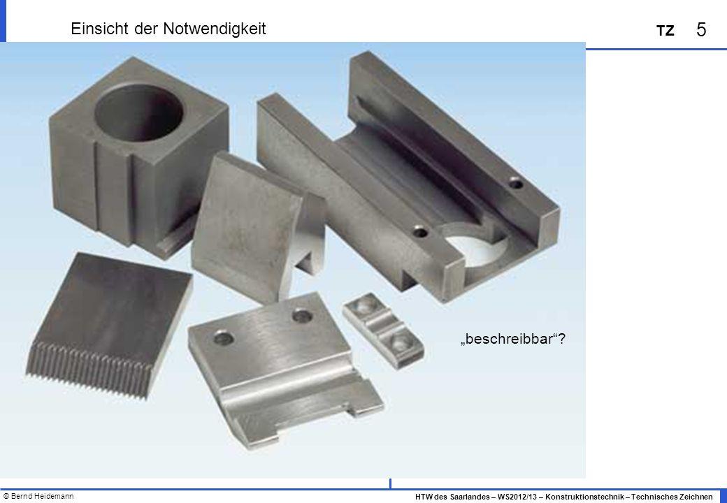 © Bernd Heidemann 5 HTW des Saarlandes – WS2012/13 – Konstruktionstechnik – Technisches Zeichnen TZ Einsicht der Notwendigkeit beschreibbar?